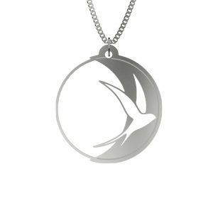 Silver Swallow Bird Pendant Necklace (Andorinha Moon Edition) | 925 Solid Sterling Silver