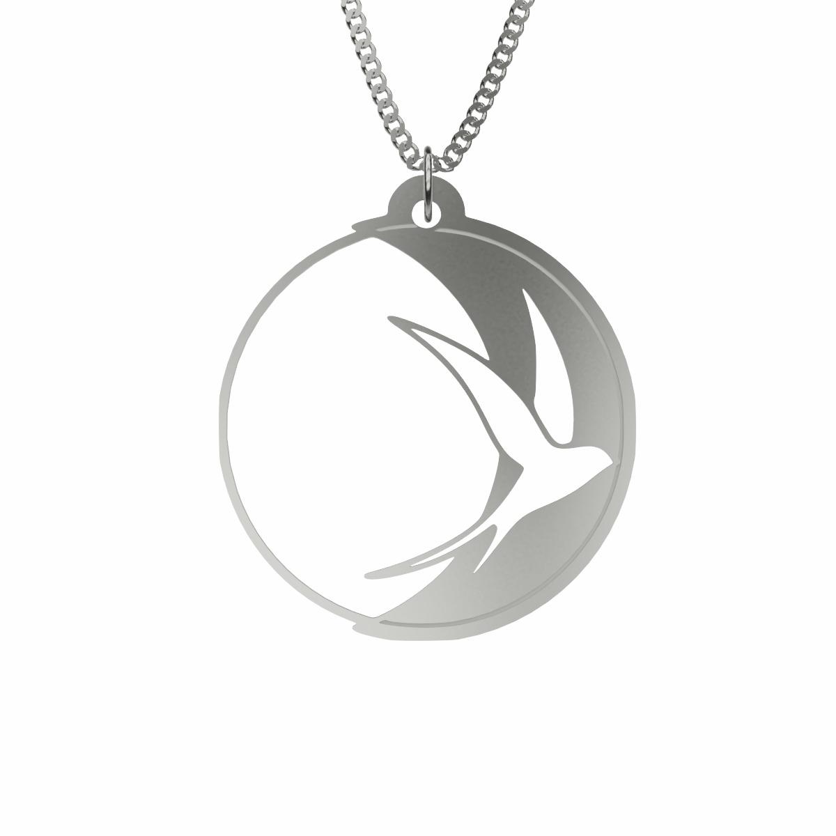 Silver Swallow Bird Pendant Necklace (Andorinha Moon Edition) | 925 Solid  Sterling Silver