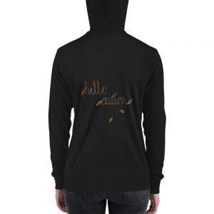Hello Autumn Leaf Unisex zip hoodie