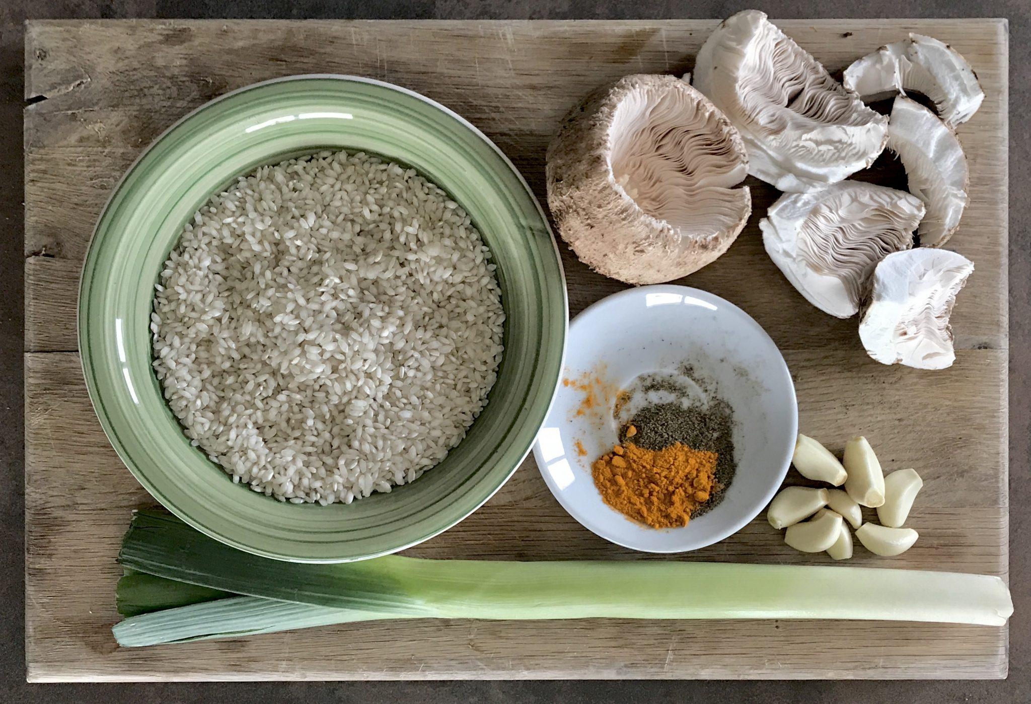 Vegan Mushroom Risotto Ingredients