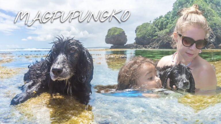 SIARGAO'S Garden Of EDEN Teaching Our DOG To Swim @ MAGPUPUNGKO ROCKPOOLS